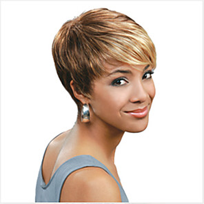 cheap Synthetic Trendy Wigs-Synthetic Wig Straight Straight Pixie Cut With Bangs Wig Blonde Short Light Blonde Mixed Color Natural Black Red Blonde Synthetic Hair 6 inch Women's Highlighted / Balayage Hair Blonde Multi-color