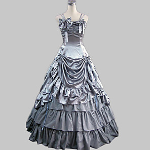 cheap Historical & Vintage Costumes-Rococo Victorian 18th Century Ruffle Dress Dress Party Costume Women's Satin Costume Gray Vintage Cosplay Party Prom Sleeveless Floor Length Long Length Ball Gown / Skirt