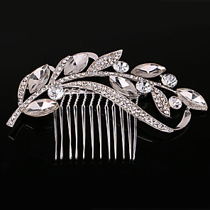 cheap Hair Jewelry-Women's Hair Combs For Wedding Party Wedding Party Crystal / Rhinestone Crystal Imitation Pearl Silver
