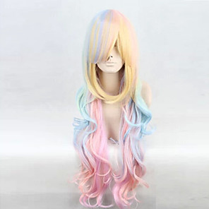 cheap Synthetic Trendy Wigs-Cosplay Costume Wig Synthetic Wig Curly Deep Wave Minaj Deep Wave Asymmetrical Wig Long Rainbow Synthetic Hair Women's Natural Hairline Blue