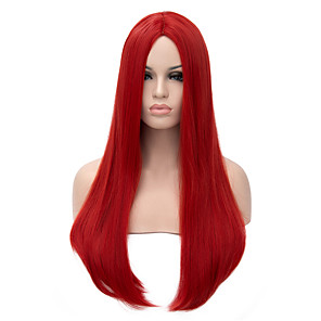 cheap Synthetic Trendy Wigs-Synthetic Wig Straight Straight Wig Long Red Synthetic Hair Women's Red