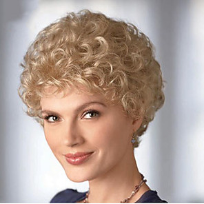 cheap Synthetic Trendy Wigs-Synthetic Wig Curly Curly Wig Blonde Short Blonde Synthetic Hair 6 inch Women's Blonde
