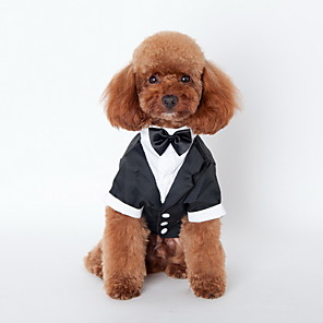 cheap Dog Clothes-Dog Necklace Shirt Tie / Bow Tie British Holiday Wedding Dog Clothes Costume Terylene Cotton S M L XL XXL