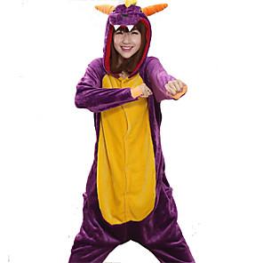 cheap Kigurumi Pajamas-Adults' Kigurumi Pajamas Dragon Animal Onesie Pajamas Coral fleece Cosplay For Men and Women Animal Sleepwear Cartoon Festival / Holiday Costumes