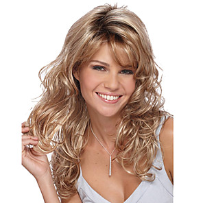 cheap Synthetic Trendy Wigs-Synthetic Wig Body Wave Body Wave With Bangs Wig Blonde Medium Length Blonde Synthetic Hair Women's Side Part Blonde