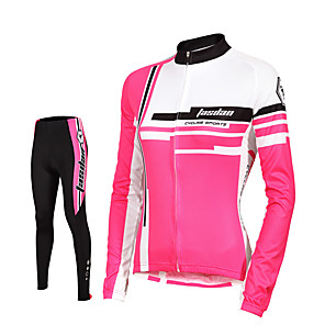 cheap Cycling Jersey & Shorts / Pants Sets-TASDAN Women's Long Sleeve Cycling Jersey with Tights Winter Fleece Black Plus Size Bike Pants / Trousers Jersey Tights Breathable 3D Pad Quick Dry Reflective Strips Back Pocket Sports Solid Color