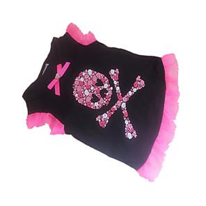 cheap Dog Clothes-Dog Shirt / T-Shirt Dog Clothes Black Costume Cotton Heart Skull Cute XS S M