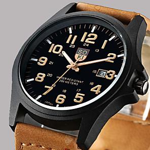 cheap Novelties-Men's Wrist Watch Hunting Watch Quartz Classic Calendar / date / day Leather Brown / Green / Khaki Analog - Black / White Black Green One Year Battery Life