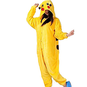 cheap Novelty Gadgets-Adults' Kigurumi Pajamas Pika Pika Animal Onesie Pajamas Flannel Toison Yellow Cosplay For Men and Women Animal Sleepwear Cartoon Festival / Holiday Costumes / Leotard / Onesie / Slippers / Slippers
