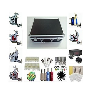 cheap Professional Tattoo Kits-BaseKey Professional Tattoo Kit Tattoo Machine - 6 pcs Tattoo Machines, Professional Alloy 20 W LCD power supply 6 steel machine liner & shader / Case Included