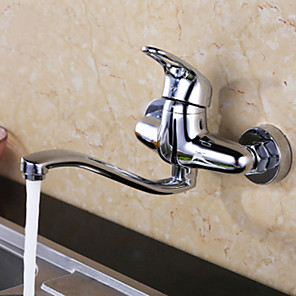 cheap Kitchen Faucets-Kitchen faucet - Contemporary Chrome Bar / Prep Wall Mounted / Two Handles Two Holes