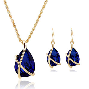 cheap Jewelry Sets-Women's Crystal Jewelry Set Pendant Necklace Pear Cut Solitaire Teardrop Ladies Vintage Party Work Casual Fashion Earrings Jewelry Red / Green / Blue For Party Special Occasion Anniversary Birthday