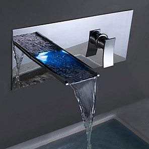 cheap Bathroom Sink Faucets-Bathtub Faucet / Bathroom Sink Faucet - Waterfall Chrome Wall Mounted Two Holes / Single Handle Two HolesBath Taps