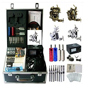 cheap Professional Tattoo Kits-BaseKey Professional Tattoo Kit Tattoo Machine - 4 pcs Tattoo Machines Analog power supply 2 steel machine liner & shader / 2 alloy machine liner & shader / Case Included