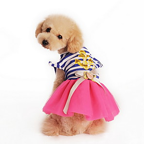 cheap Dog Clothes-Cat Dog Dress Dog Clothes Yellow Pink Costume Terylene Cotton Stripes Bowknot Holiday Fashion XS S L XL