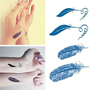 cheap Tattoo Stickers-feather-tattoos-stickers-trendy-waterproof-small-temporary-tattoos-stickers-for-body-art-sleeve-arm
