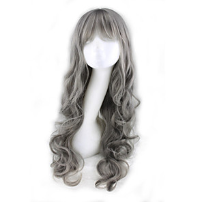 cheap Synthetic Trendy Wigs-Synthetic Wig Curly Deep Wave Deep Wave Asymmetrical With Bangs Wig Long Grey Synthetic Hair Women's Natural Hairline Gray