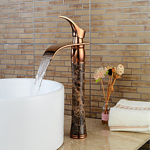 cheap Bathroom Sink Faucets-Bathroom Sink Faucet - Retro Vintage Waterfall Rose Gold Centerset Single Handle One HoleBath Taps / Brass