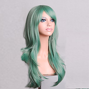 cheap Synthetic Trendy Wigs-Cosplay Costume Wig Synthetic Wig Curly Natural Wave Minaj Natural Wave Asymmetrical Wig Medium Length Long Green Synthetic Hair Women's Natural Hairline Green