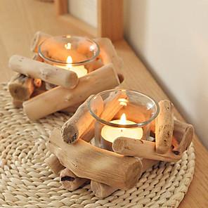 cheap Storage & Organization-Wooden Candlesticks Creative Personality Handmade Wood Candlesticks Candlestick Holder Home Decoration