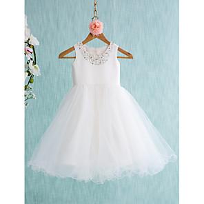 cheap Girls' Dresses-Ball Gown Knee Length Wedding / First Communion Flower Girl Dresses - Satin / Tulle Sleeveless Jewel Neck with Bow(s) / Beading