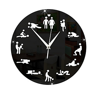 cheap Wall Clocks-Mirror Sex Position Wall Clock Clocks 24Hours Sex Clock Novelty Wall Clock