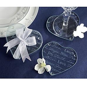 cheap Coaster Favors-Glass Photo Coasters / Heart shape Coaster Favors - 2pcs Piece/Set Asian Theme / Classic Theme / Fairytale Theme Spring / Summer / Fall