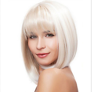 cheap Synthetic Trendy Wigs-Synthetic Wig Straight Kardashian Straight Bob With Bangs Wig Medium Length White Synthetic Hair 14 inch Women's White