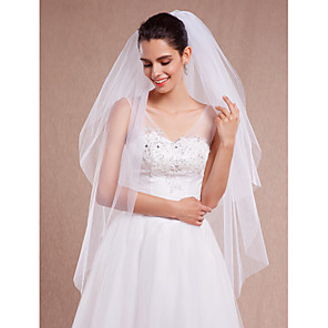 cheap Wedding Veils-Two-tier Cut Edge Wedding Veil Blusher Veils / Fingertip Veils with Ruched Tulle / Oval