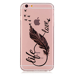 cheap iPhone Cases-Case For Apple iPhone 6s Plus / iPhone 6s / iPhone 6 Plus Transparent / Pattern Back Cover Feathers Soft TPU