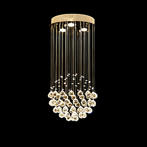 cheap Island Lights-3-Light 30cm(11.81 Inch) Crystal / LED Pendant Light Metal Electroplated Modern Contemporary 110-120V / 220-240V / GU10
