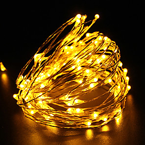tanie Taśmy świetlne LED-10 m Łańcuchy świetlne 100 Diody LED Dip LED 1 zestaw Ciepła biel Biały Wiele kolorów Impreza Dekoracyjna Święto 100-240 V / IP65