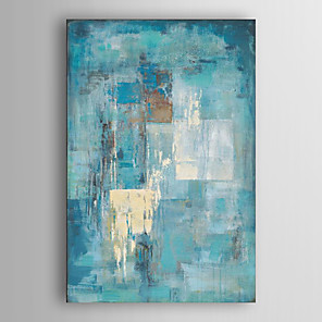 cheap Abstract Paintings-Oil Painting Paint Handmade Abstract Canvas Art Minimalist Turquoise Blue Modern Art