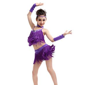 cheap Latin Dancewear-Latin Dance Top Tassel Crystals / Rhinestones Performance Sleeveless High Spandex Polyester