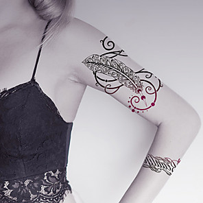cheap Tattoo Stickers-fashion-large-temporary-tattoos-feather-sexy-body-art-waterproof-tattoo-stickers-2pcs-size-5-71-by-8-27