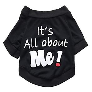 cheap Dog Clothes-Cat Dog Shirt / T-Shirt Dog Clothes Breathable Black Costume Cotton Letter & Number Fashion XS S M L