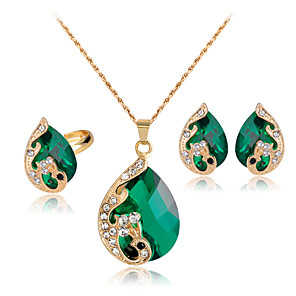 cheap Jewelry Sets-Women's Crystal Jewelry Set Peacock Mood Ladies Party Indian fancy Crystal Rhinestone Rose Gold Plated Earrings Jewelry Red / Green / Blue Peacock For Wedding Party Daily Masquerade Engagement Party
