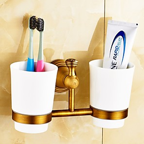 cheap Bathroom Gadgets-Antique Brass -Plated Finishing Brass Material Toothbrush Holder
