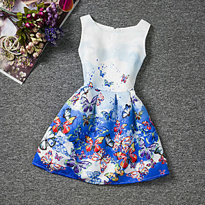 cheap Girls' Dresses-Kids Girls' Floral Going out Weekend Butterfly Print Sleeveless Dress Blue / Cotton