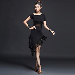 cheap Latin Dancewear-Latin Dance Dress Tassel Women's Performance Short Sleeves High Nylon Chinlon