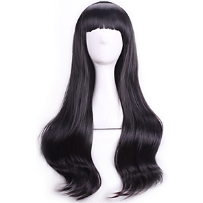 cheap Costume Wigs-Synthetic Wig Cosplay Wig Curly Wavy Curly With Bangs Wig Black Synthetic Hair Women's Black