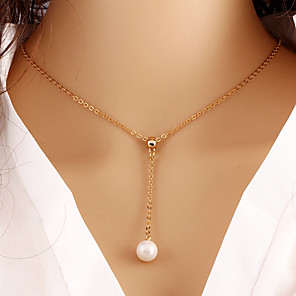 cheap Necklaces-Women's Pendant Necklace Pearl Necklace Party Work Casual Fashion Pearl Imitation Pearl Alloy Gold Necklace Jewelry For Wedding Party Daily Casual
