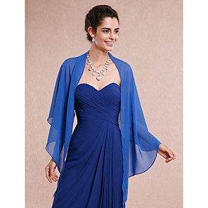 cheap Wedding Veils-Sleeveless Shawls Chiffon Wedding / Party Evening Women's Wrap With Draping / Solid
