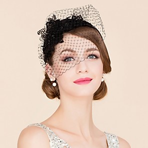 cheap Wedding Veils-Tulle Rhinestone Polyester Fascinators Birdcage Veils Headpiece