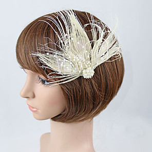 cheap Fascinators-Tulle / Feather Fascinators with 1 Wedding / Special Occasion Headpiece