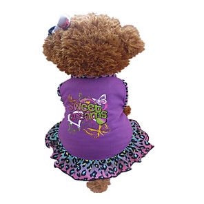 cheap Dog Clothes-Dog Dress Dog Clothes Purple Costume Cotton Heart Animal XXS XS S M