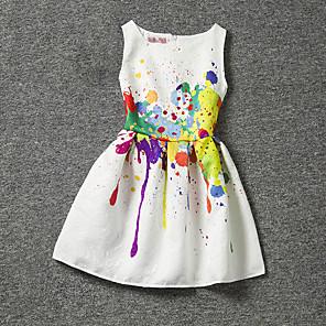 cheap Girls' Dresses-Kids Girls' Floral Print Sleeveless Dress White