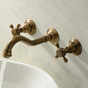 cheap Shower Faucets-Bathroom Sink Faucet - Wall Mount / Widespread Antique Brass Wall Mounted Three Holes / Two Handles Three HolesBath Taps