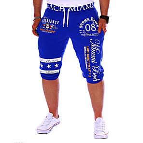 cheap Men's Sneakers-Men's Active / Basic Sports Weekend Loose / wfh Sweatpants / Shorts Pants - Letter Print Black Gray Blue L XL XXL