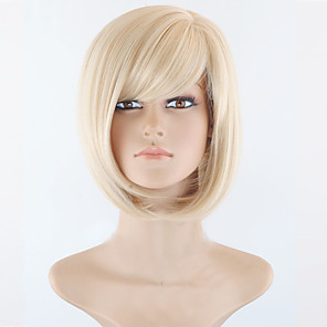 cheap Synthetic Lace Wigs-Synthetic Wig Straight Straight Bob Short Bob With Bangs Wig Blonde Short Blonde Synthetic Hair Women's Side Part Blonde